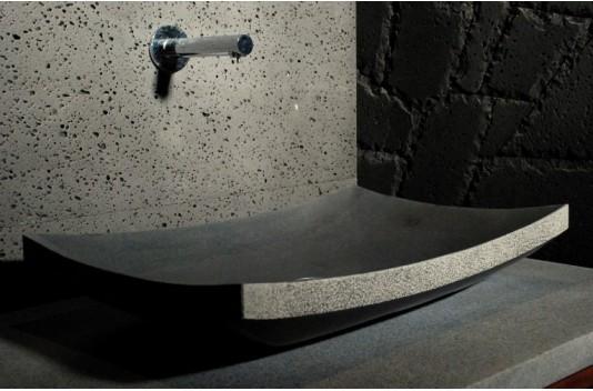 60X40 Vasque de Salle de Bain en Pierre à Poser Basalte Noire - LOTUS