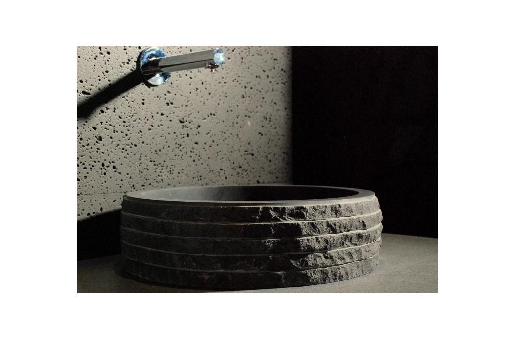 Vasque Pierre de Salle de Bain à poser en Basalte noir dia 40 - VOLCANO DARK