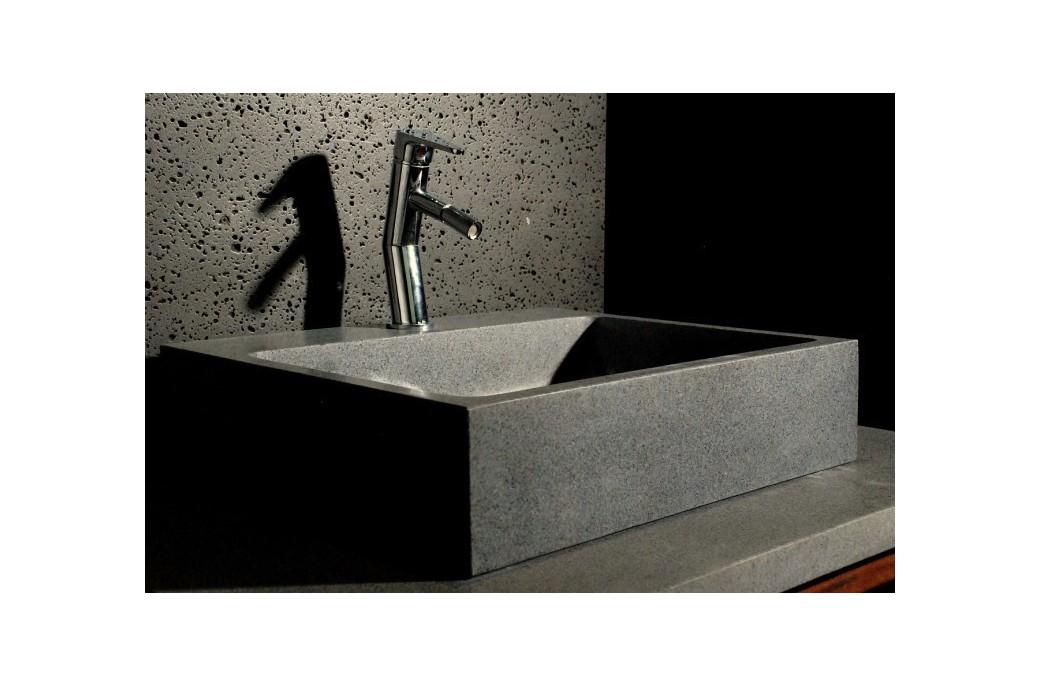 Lavabo en pierre grise 55x46 alpha trou robinetterie for Lavabo pierre salle de bain