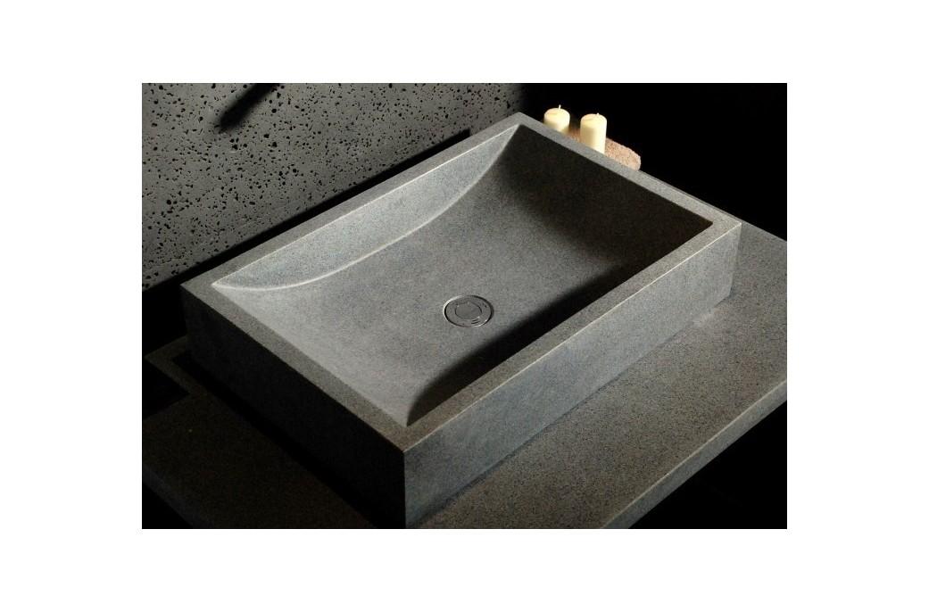 Lavabo 60x40 Vasque de salle de bain à poser en pierre granit gris - TORRENCE