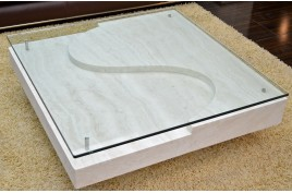 table basse en marbre louvre et verre tremp pour. Black Bedroom Furniture Sets. Home Design Ideas