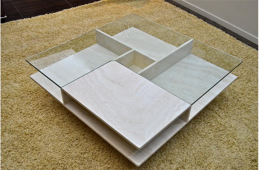 table basse pierre et verre en marbre haut de gamme. Black Bedroom Furniture Sets. Home Design Ideas