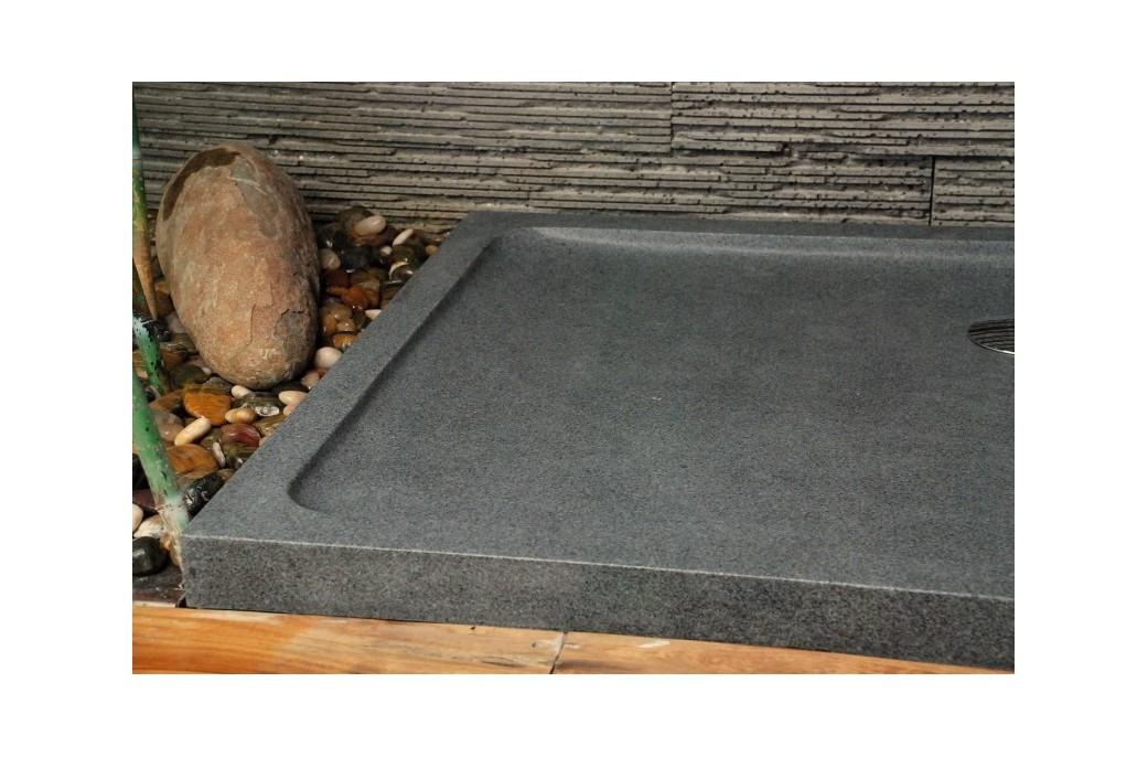 receveur de douche en pierre palaos granit taill dans la masse 120x80cm. Black Bedroom Furniture Sets. Home Design Ideas