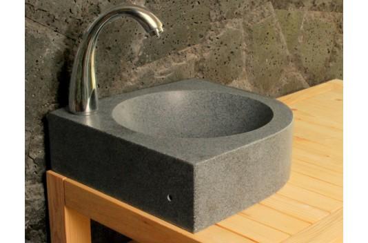 Lave mains en pierre d'angle 34x34cm granit véritable - SAMOA