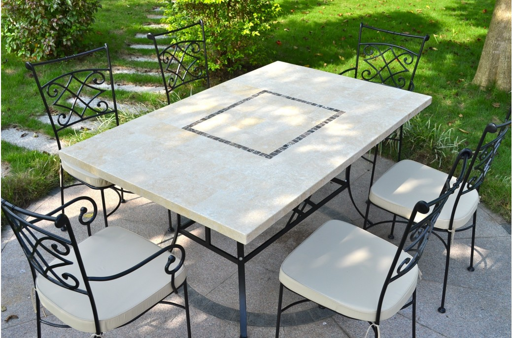 Monte carlo table de jardin 160x100 en mosa que de marbre pierre naturelle - Table de jardin en mosaique ...