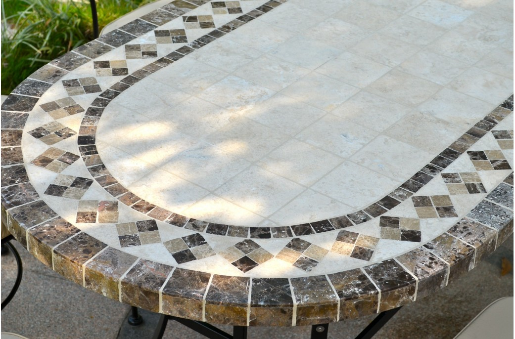 table de jardin mosaique ovale. Black Bedroom Furniture Sets. Home Design Ideas