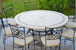 Tables de jardin en mosaique de marbre jardin living roc living 39 roc - Table jardin mosaique ronde versailles ...