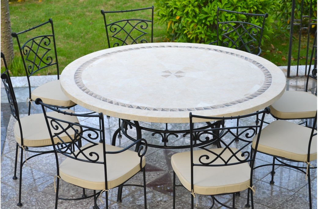 Imhotep grande table ronde diam tre 160 125cm mosa que emperador living 39 roc Table salon de jardin ronde