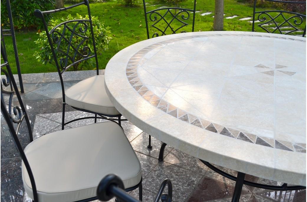 Charmant table de jardin mosaique rectangulaire pas cher - Grande table ronde de jardin ...