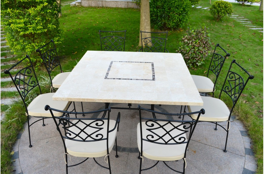 Capri table mosa que carr e pour ext rieur int rieur en marbre 140x140 - Table de jardin en mosaique ...