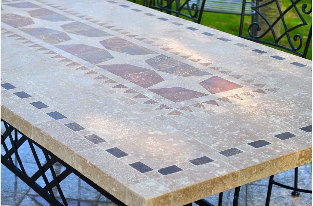 table de jardin mosa que en pierre naturelle 160 200 240cm tampa. Black Bedroom Furniture Sets. Home Design Ideas