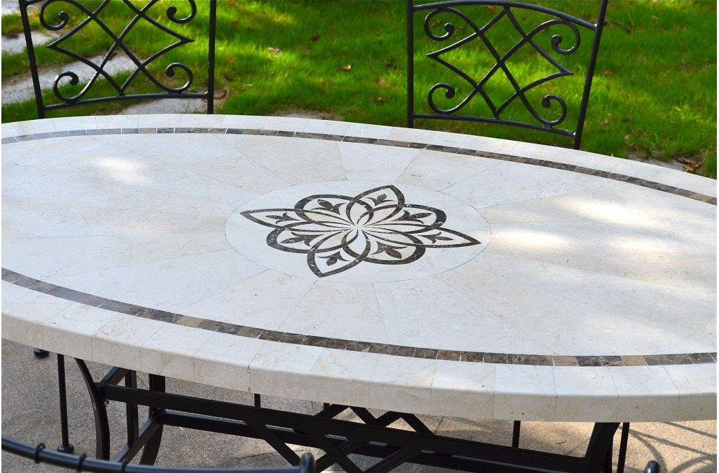 Table mosa que de jardin en pierre naturelle ellipse - Salon de jardin mosaique ...