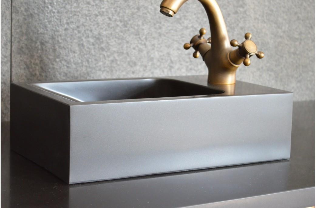 lave mains noir en basalte v ritable 40x23 kaloo. Black Bedroom Furniture Sets. Home Design Ideas