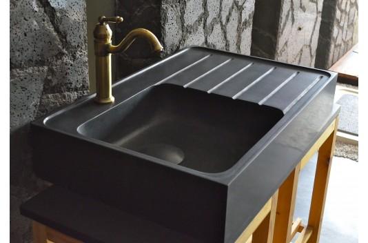 Évier de cuisine pierre 90x60 Granit Noir Luxe NORWAY SHADOW