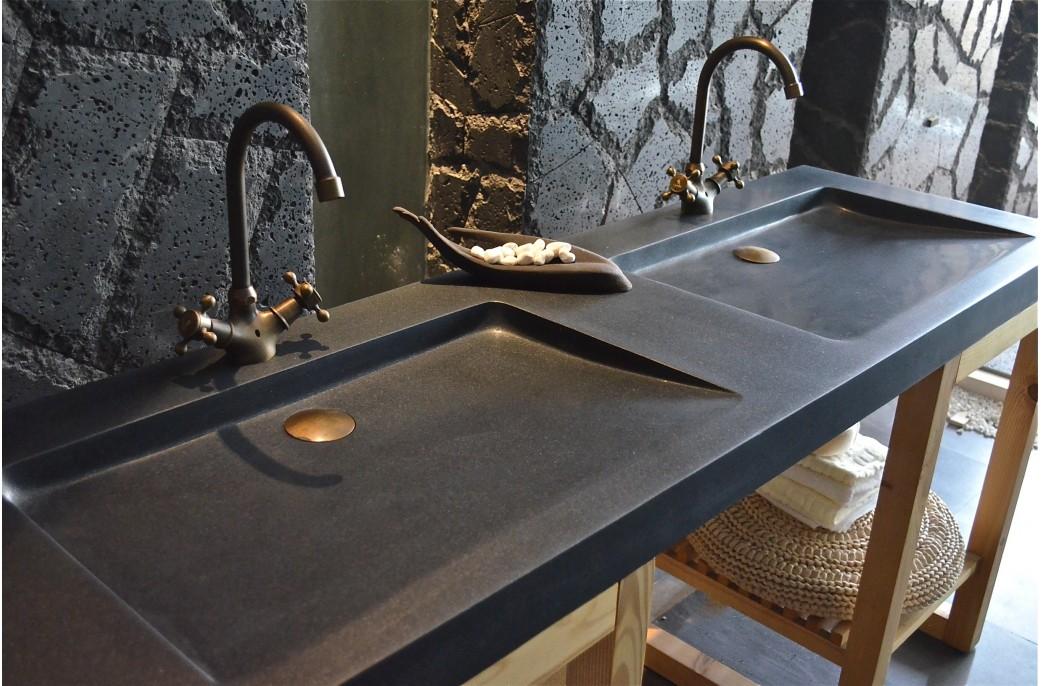 double vasque en pierre fole 39 ge shadow granit noir v ritable 160x50. Black Bedroom Furniture Sets. Home Design Ideas