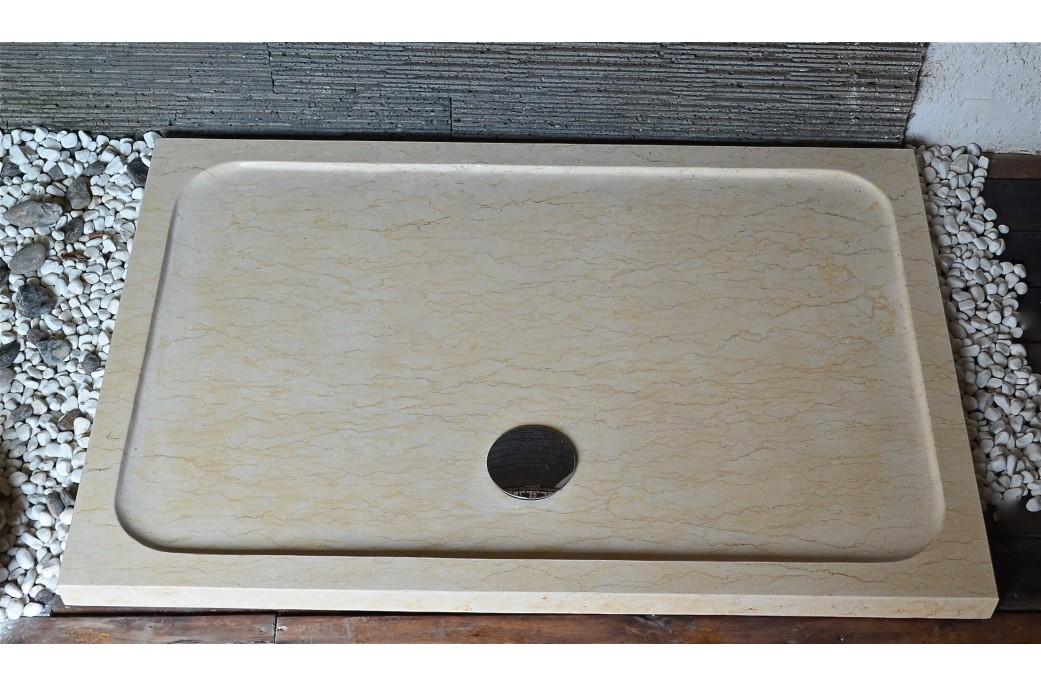 Bac de douche beige palaos sunny en marbre d 39 gypte 120x80 - Receveur de douche extra plat 120x80 ...