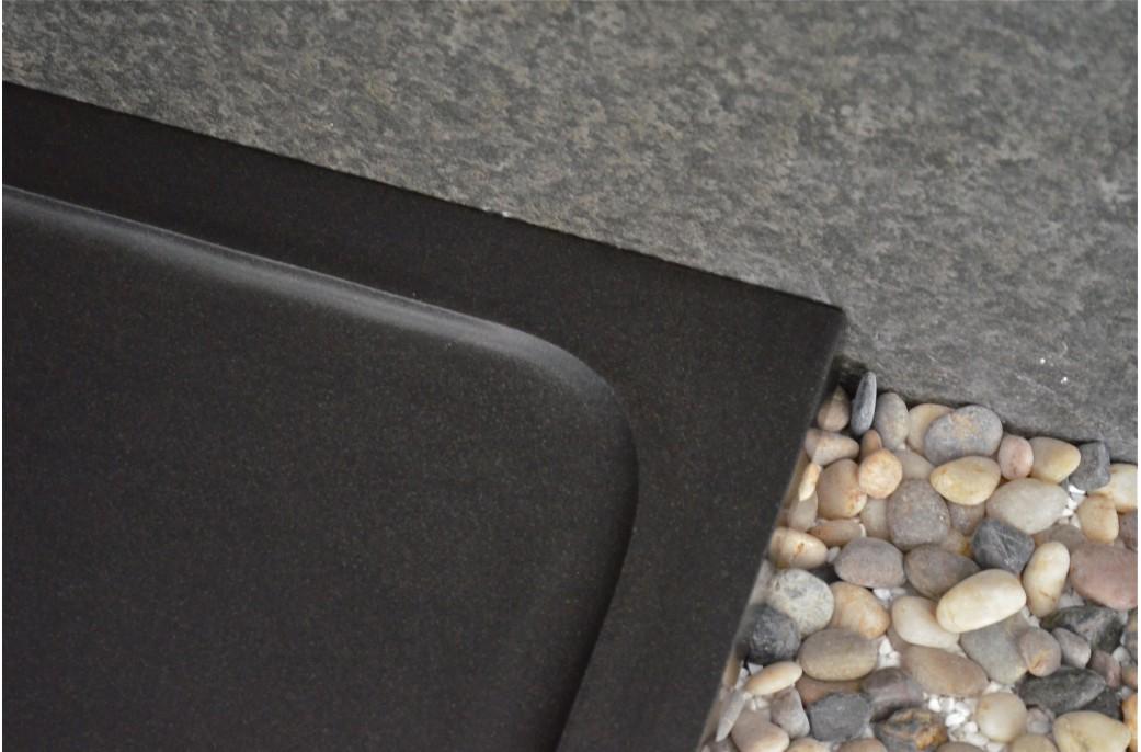 Receveur de douche en basalte noir de mongolie 80x80 for Receveur douche couleur