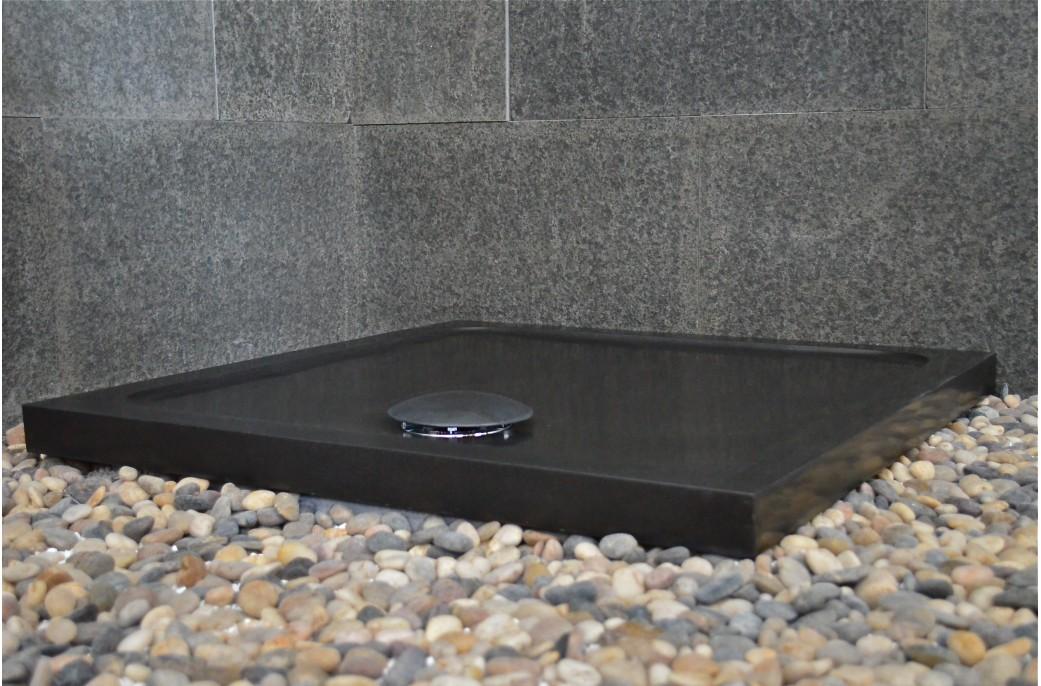 receveur de douche en basalte noir de mongolie 80x80. Black Bedroom Furniture Sets. Home Design Ideas