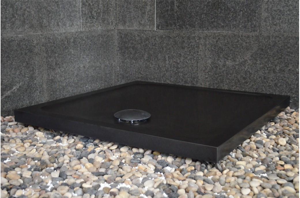 receveur de douche en pierre noire serena black extra plat 90x90