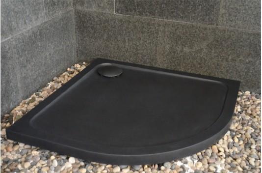 Receveur de douche 1/4 rond 90x90 en pierre noire - LAGOON DARK