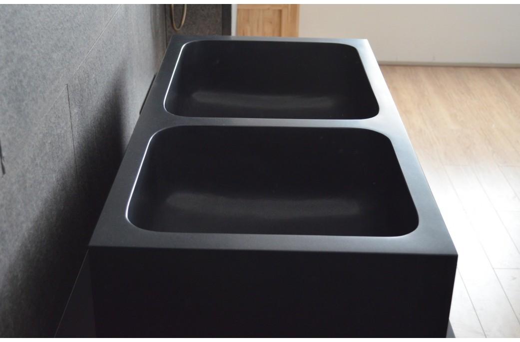 ALIFA SHADOW: Évier de cuisine sous plan en granit noir véritable ...