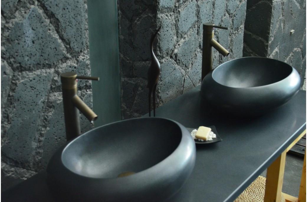 vasque en pierre grand luxe cocoon shadow granit noir. Black Bedroom Furniture Sets. Home Design Ideas