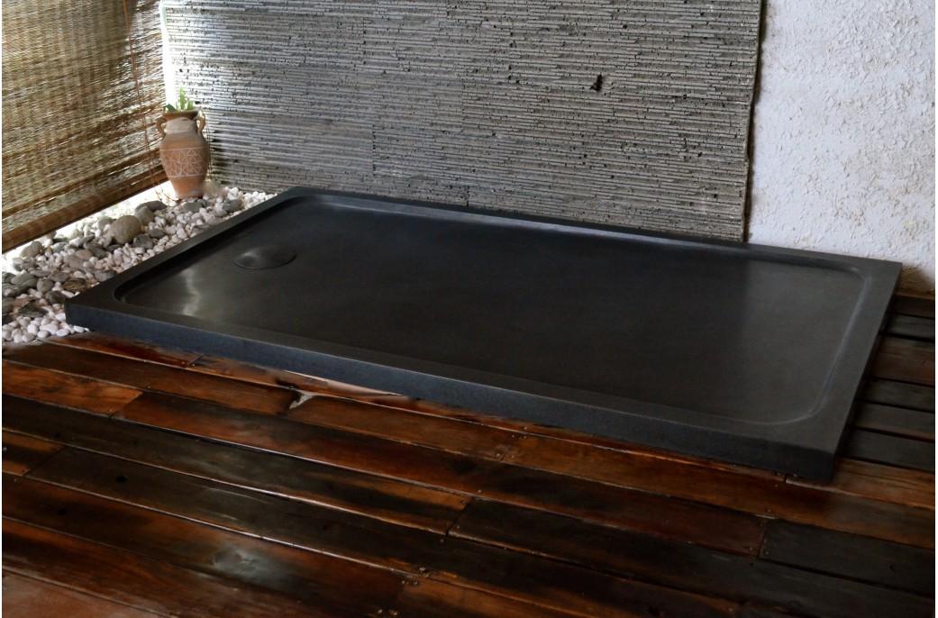receveur de douche 160x90 en granit noir rare et luxueux quasar shadow. Black Bedroom Furniture Sets. Home Design Ideas