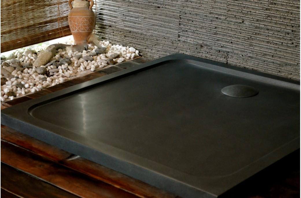 Receveur de douche squarium 100x100cm en pierre v ritable extra plat living 39 roc - Receveur graniet ...