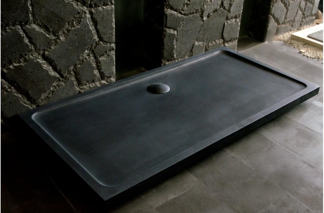 Receveur de douche en pierre dalaos l 39 italienne granit grande taille 180x90 living 39 roc - Douche italienne ardoise ...