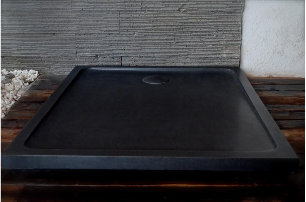 Receveur de douche en pierre rubix shadow 120x90 granit noir v ritable living 39 roc - Receveur de douche extra plat 120x90 ...