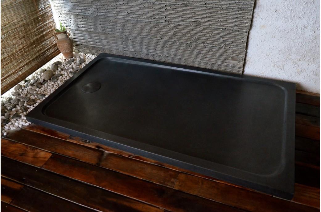 Receveur de douche en pierre spacium shadow granit noir v ritable 140x90 - Receveur graniet ...