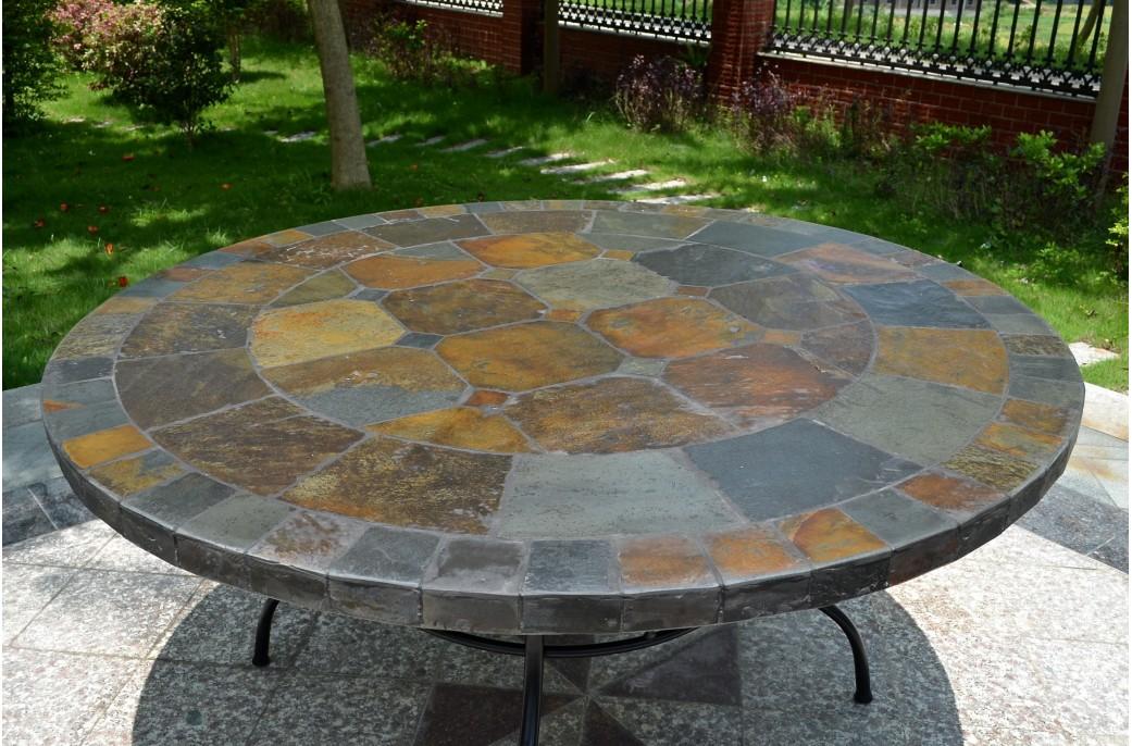 125 160 table de jardin ronde en mosa que d 39 ardoise oceane - Table jardin mosaique ronde versailles ...