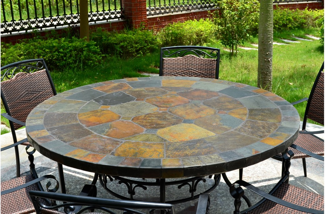 125 160 table de jardin ronde en mosa que d 39 ardoise oceane for Comment realiser une table de jardin en mosaique