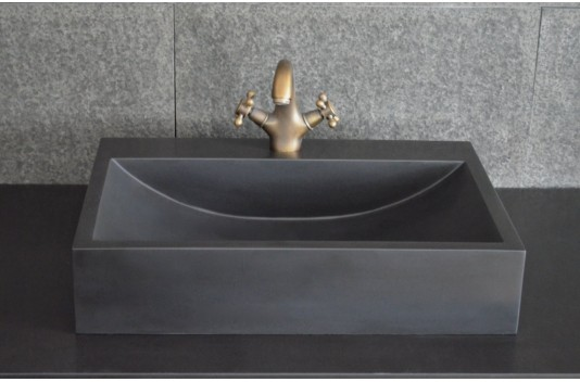 Vasque en pierre noire 60x40 Basalt Noir - PEGASUS BLACK