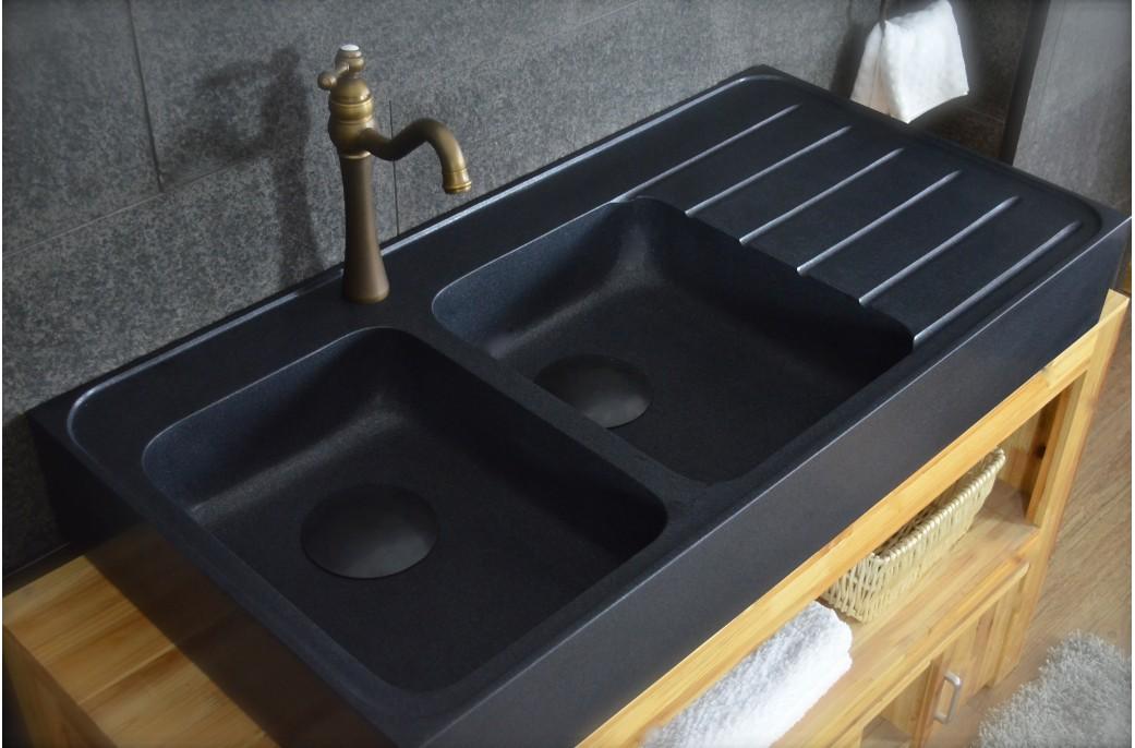120×60  Évier Granit Noir de Cuisine en Pierre 2 cuves + égouttoir