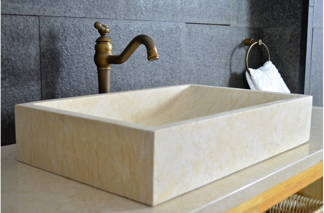 vasque pierre naturelle torrence sunny en marbre d 39 gypte 60x40 living 39 roc. Black Bedroom Furniture Sets. Home Design Ideas