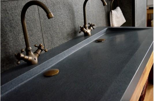 Double vasque en pierre à poser 120x50 Granit - YATE
