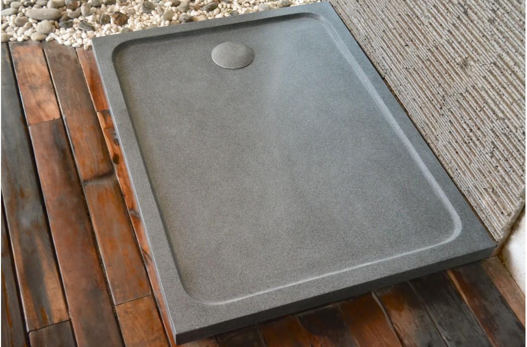 receveur de douche 120x100 granit noir haut de gamme kiaora. Black Bedroom Furniture Sets. Home Design Ideas