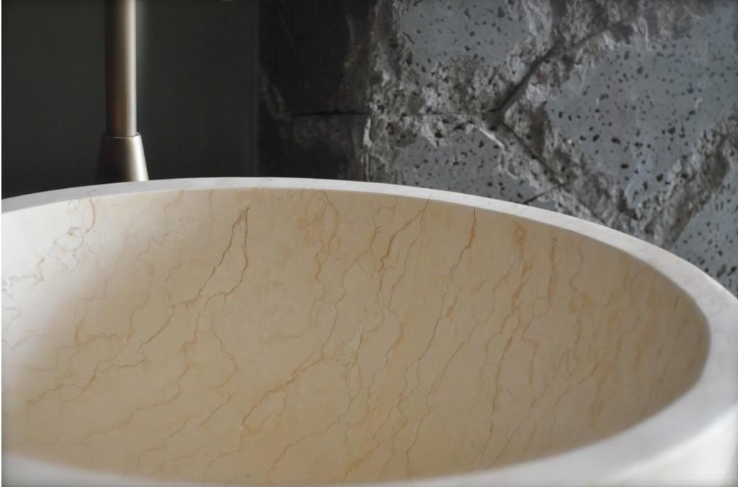 accueil vasque poser ronde noire en terrazzo donut. Black Bedroom Furniture Sets. Home Design Ideas