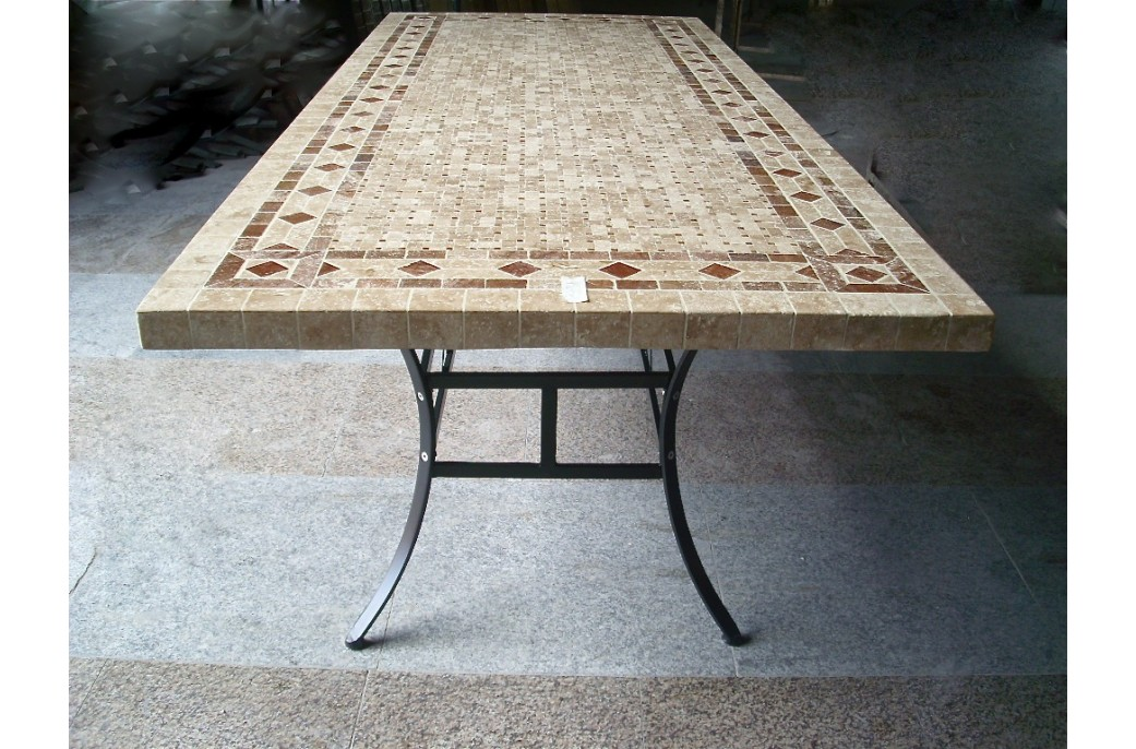 Table mosa que en pierre toscane de jardin en fer forg for Entretien table en marbre