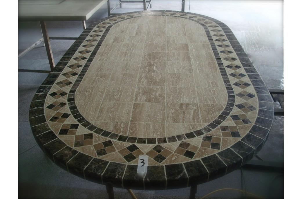 Table rabattable cuisine paris table ovale en marbre - Table de jardin plateau en marbre ...