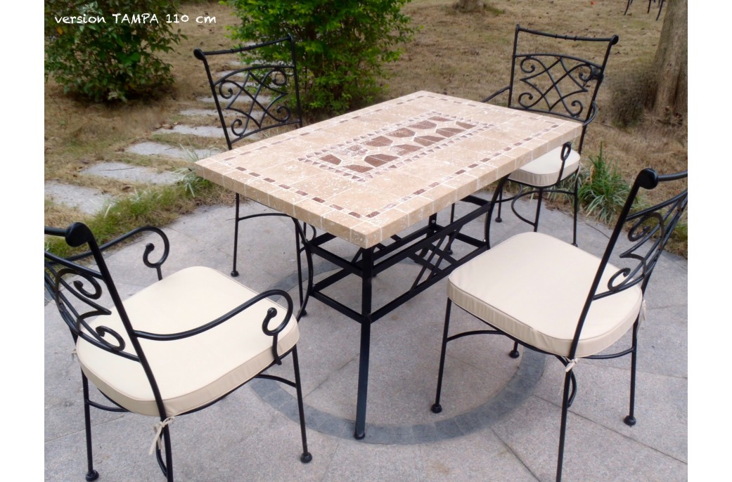 table de jardin mosaique fer forge des. Black Bedroom Furniture Sets. Home Design Ideas
