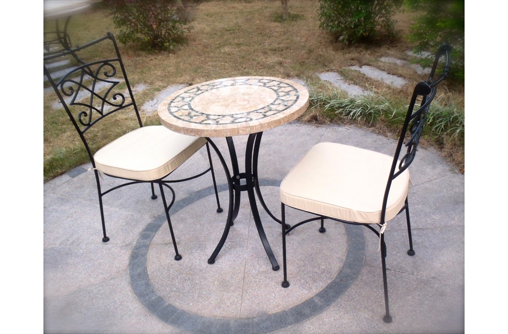 table ronde marbre indien mosa que pour jardin et patio india. Black Bedroom Furniture Sets. Home Design Ideas