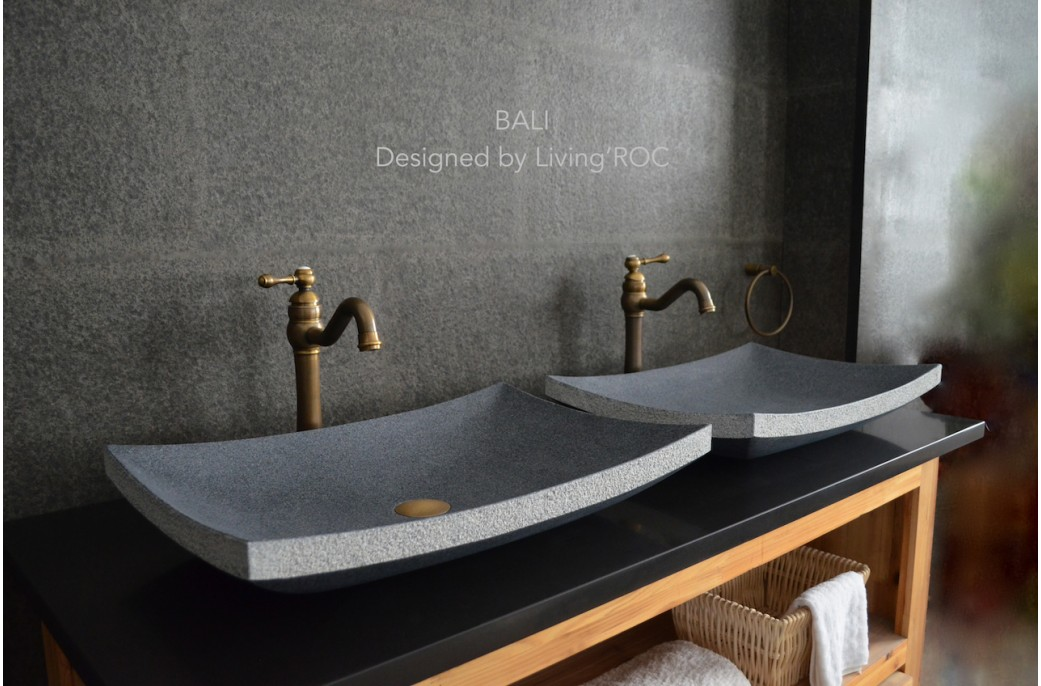 60x40 vasque poser en pierre granit v ritable bali for Modele vasque salle de bain