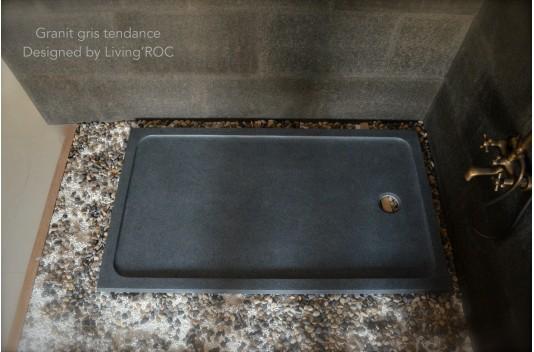 Receveur de douche pierre 120X100 granit gris luxe - KIAORA