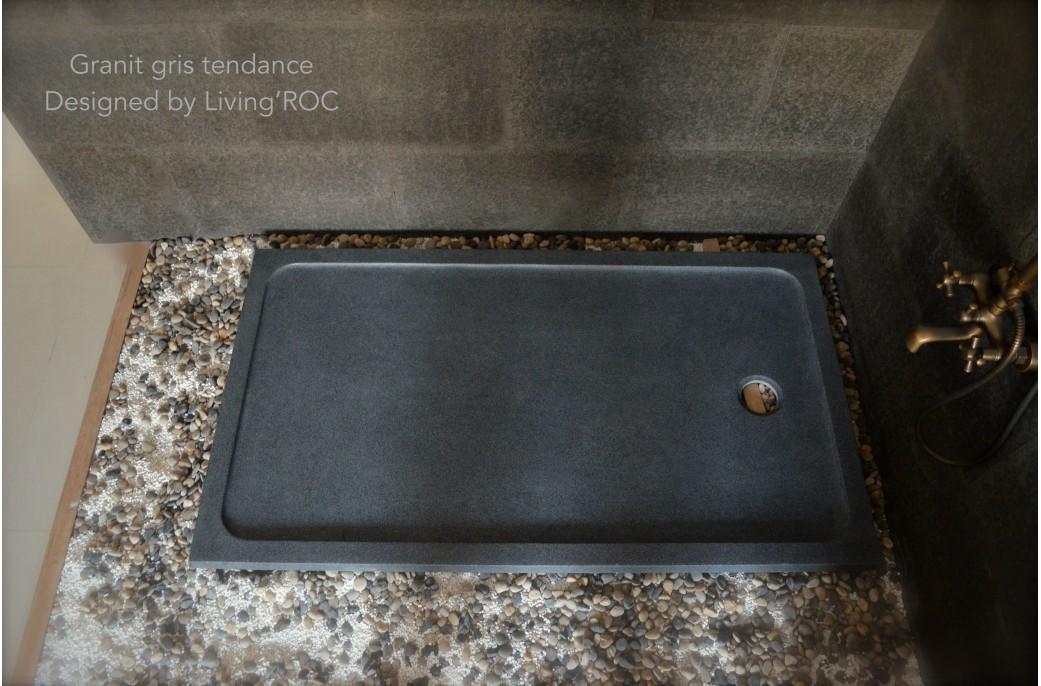 Receveur de douche 120x100 granit noir haut de gamme kiaora - Destockage receveur de douche ...