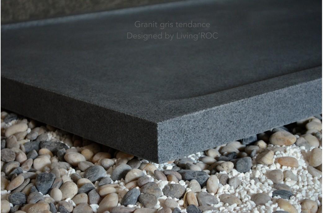 Receveur de douche pierre granit d co v ritable 140x100 cm palm - Bac a douche 140 x 80 ...