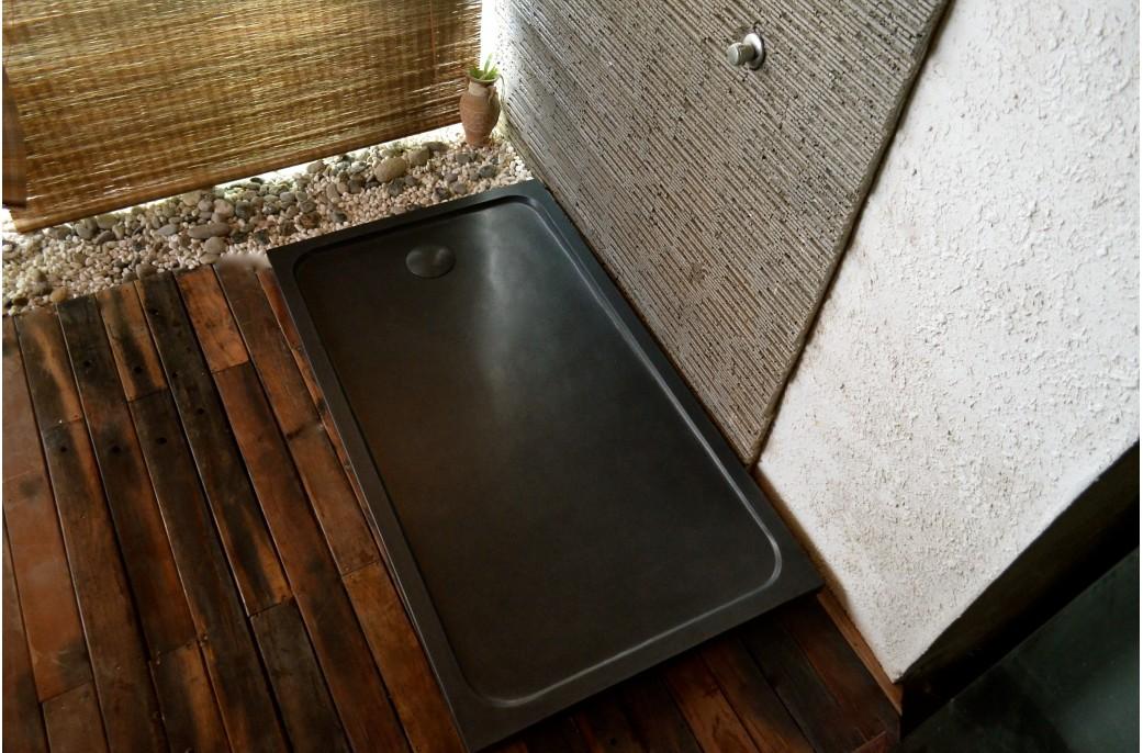 Receveur de douche en pierre PALM SHADOW Granit noir véritable 140x100
