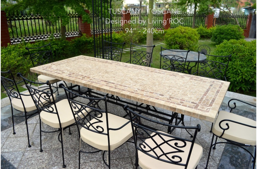 table de jardin toscane Wrought Iron And Tile Coffee Table