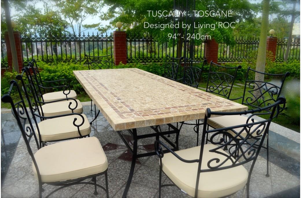Table mosa que en pierre toscane de jardin en fer forg marbre rouge et travertin - Table de jardin en fer ...
